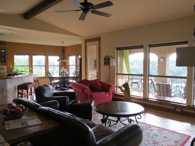Spicewood house rental - Living Room, Dining Room, Kitchen and Upper Deck