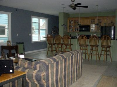 Huge kitchen and great room are perfect for getting the family together.