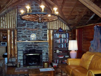 Oakland cabin rental - Great room with stone fireplace