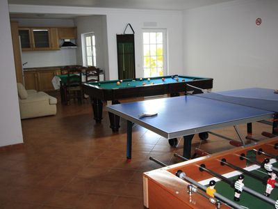 games room :footbal table,tennis table,a full-size pool table, led tv 42 inch