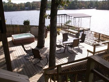 Hot Springs house rental - lower deck with 180 view of Lake!!!