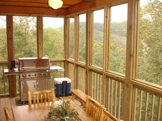 Branson cabin photo - Stainless Steel Grill and Plenty of Seating to Enjoy the Mountain View