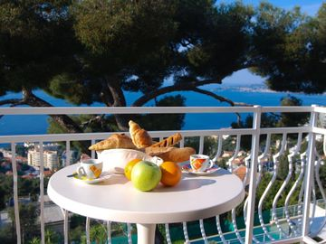 Morning breakfast on the top balcony