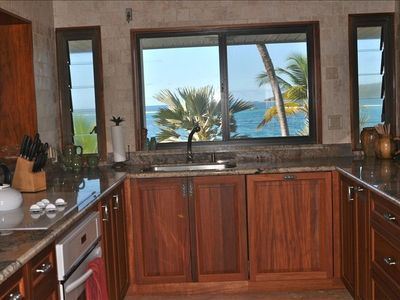 Kitchen sink area with panoramic views and sea breezes