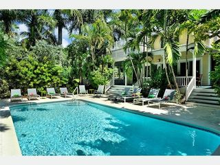 Key West house photo - The central courtyard, with a big, beautiful heated pool and 10 chaises.
