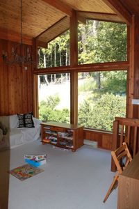 Pender Island house rental - enjoy the view, play a game or get some work done on the upper mezzanine