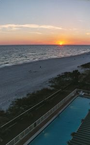 What a view of Panama City Beach sunset!  30yd pool for swimmers