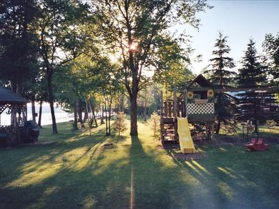 gazebo and spacious play area, view from front porch of cabin