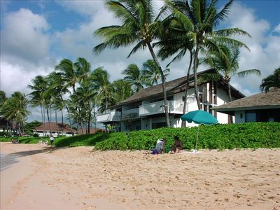 Beachhouse #5 is the center ground-floor unit. Overlook beautiful Poipu Beach!