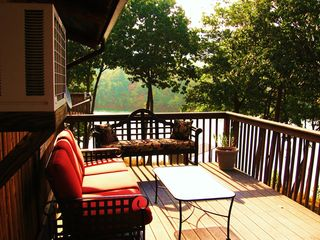 Huddleston cabin photo - Enjoy a glass of wine or coffer on our old fashion glider