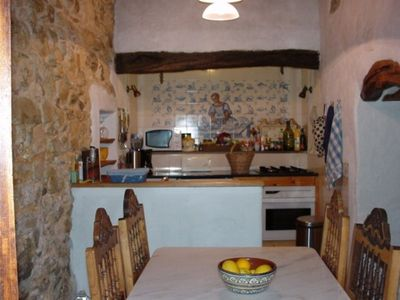 Santo Estevao farmhouse rental - The Patio's kitchen and dining area