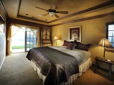Bedroom overlooking lake.