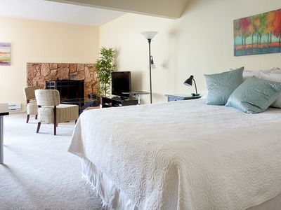 Stateline condo rental - Stay cozy with a super comfortable bed and wood burning fireplace.