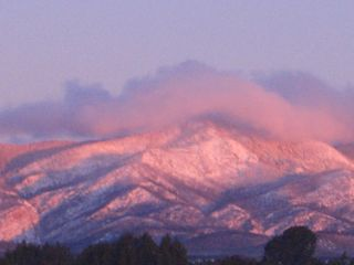 Mountainair villa photo - Winter Pink Snow Morning View from Guesthouse