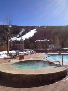 Enjoy view of Mountains from heated pool and hot tubs
