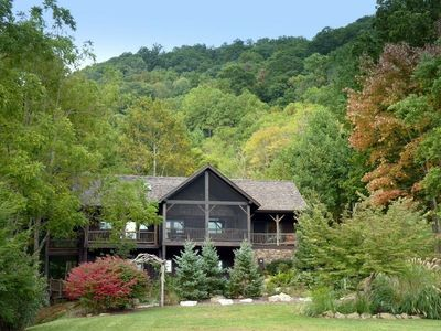 Luck cabin rental - Moonshine Cabin nestled in cove with beautifully landscaped garden.