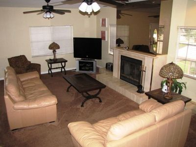 Huge Living Room of 3 Bedroom Townhouse - Fireplace & 50+inch LCD HD TV