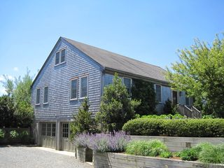 Surfside Nantucket property rental photo - 2 car garage and beautiful landscaping.