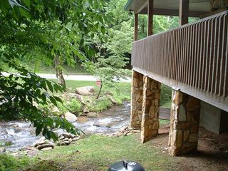 Robbinsville house photo - Rushing creek right beside deck!