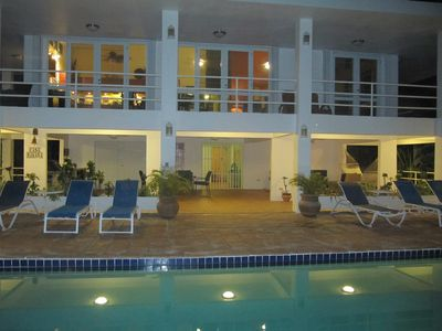 Vieques Island house rental - Overlooking the pool and house at night.
