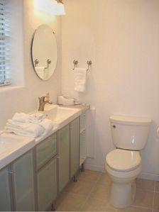 Updated Master Bathroom With 'Pocket' Door, NEW Sinks & Toilet!