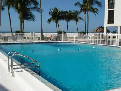 Heated large pool that looks out on Gulf of Mexico