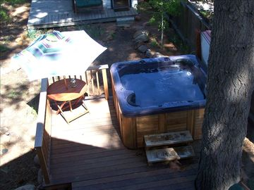Kings Beach cabin rental - Large 6 person hot tub with great lake views!