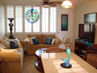 Makaha property rental photo - Living Room with Plantation Shutters