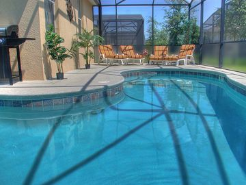 Haines City villa rental - Privacy-screened, South-East facing pool with heated spa
