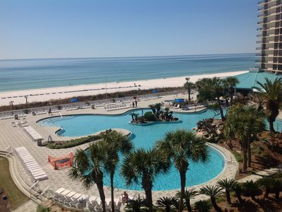 Lagoon Pool and the Gulf of Mexico view from 402 Balcony