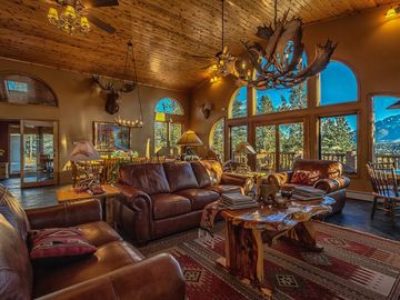 Colorado Springs house rental - Great Room is the focal point for gathering with fabulous Pikes Peak views