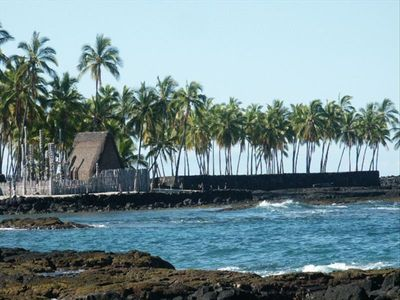 Pu'uhonua O' Honaunau as seen from 2 Step, a favorite snorkeling spot