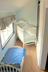 Avon-by-the-Sea house photo - Blue King bedroom extra room with Crib and child's bed