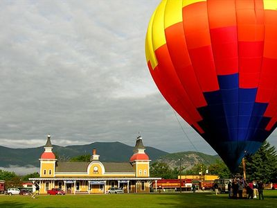 Hot Air Balloon Festival in North Conway in front of the train station.