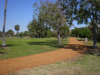 Beautiful Carlin Park with walking/jogging trail and exercise stations galore