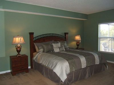 King master suite on the 1st floor with garden tub and separate shower, and TV