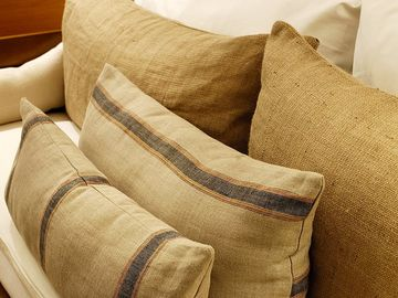 Detail on handmade pillows and furniture