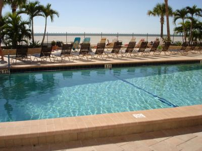 Relax at the heated pool directly on the Gulf of Mexico
