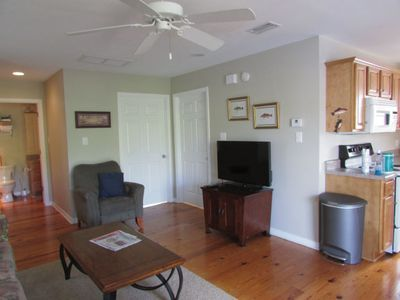 Living room with Flat Screen TV plus cable.