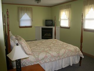 Killington house photo - Bedroom #2 with queen bed, twin bed, fireplace, and private bath