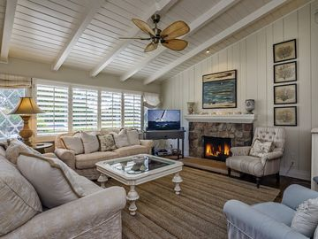 Santa Barbara house rental - The bright, cheerful great room with skylights and hardwood floors is both stylish and functional. Watch movies on the flatscreen TV with DVD player, or relax with a book by the gas fireplace.
