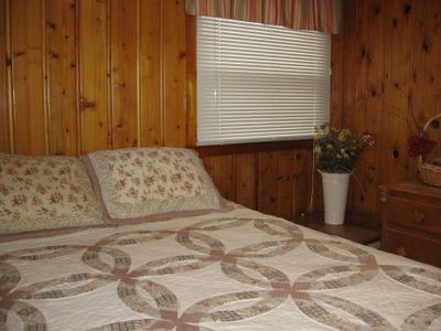 Hillman cottage rental - Bedroom with queen bed.