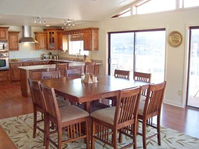 Kitchen and Dining Area with view of lake
