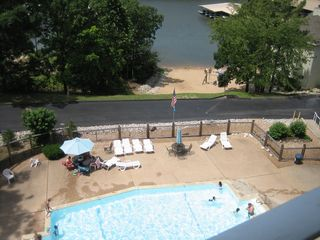 Osage Beach condo photo - From the deck, looking down over the Pool and Sandy Beach