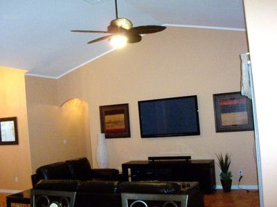Family room with large wall mounted TV