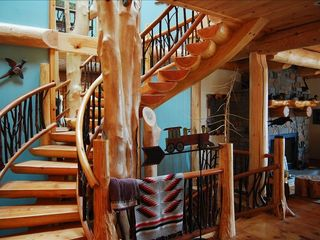 Cooperstown cabin photo - The three-story hand built log staircase around a 42' tall maple tree