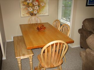 Jay Peak condo photo - Dining seating for 9 including stools at kitchen counter.