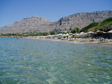 crystal clear water & sand beaches in Pefkos