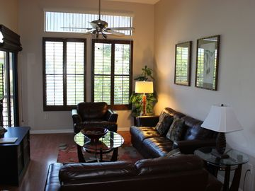 Other Scottsdale Properties condo rental - bright vaulted ceilings in living area with plantation shutters overlooking pool