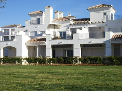 La Torre Golf Resort house rental - Rear view of luxury townhouse & lawned gardens